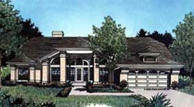 Contemporary , Florida , Mediterranean House Plan 63231 with 4 Beds, 2 Baths, 2 Car Garage Elevation