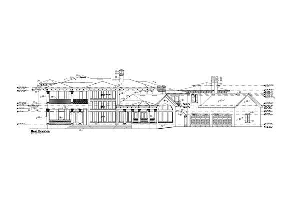 Tuscan , Mediterranean , European House Plan 63232 with 4 Beds, 6 Baths, 4 Car Garage Rear Elevation