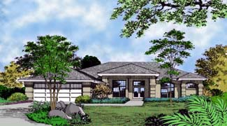 Contemporary, Florida, Mediterranean, One-Story House Plan 63239 with 3 Beds, 3 Baths, 2 Car Garage Elevation