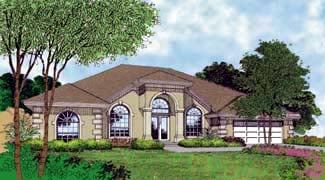 Contemporary , Florida , Mediterranean House Plan 63247 with 4 Beds, 3 Baths, 2 Car Garage Elevation
