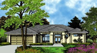 Contemporary Florida Mediterranean Elevation of Plan 63250