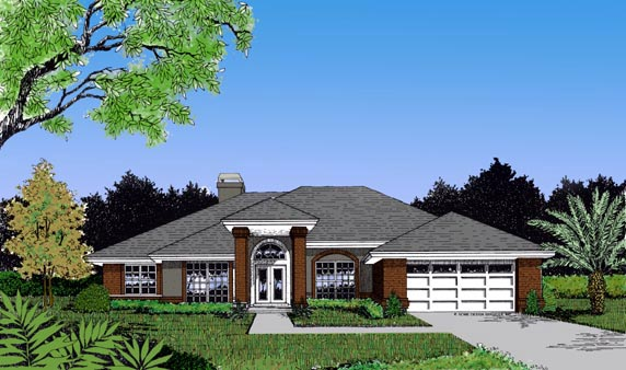 Contemporary, Florida, Mediterranean, One-Story House Plan 63251 with 3 Beds, 2 Baths, 2 Car Garage Elevation