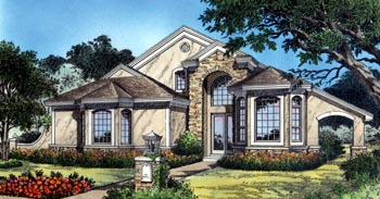 Contemporary, Florida, Mediterranean House Plan 63252 with 3 Beds, 3 Baths, 2 Car Garage Elevation