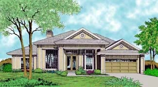 Contemporary, Florida, Mediterranean, One-Story House Plan 63254 with 4 Beds, 3 Baths, 2 Car Garage Elevation