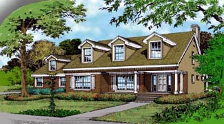 Colonial Country Farmhouse Traditional Elevation of Plan 63255