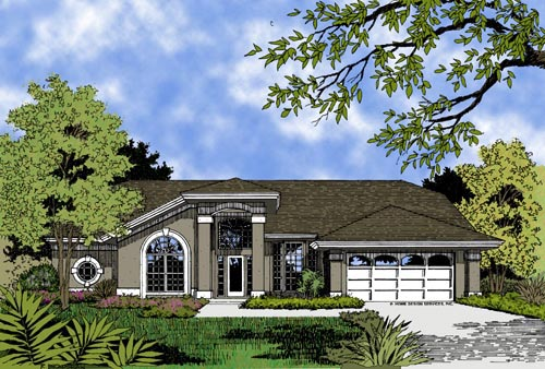 Contemporary, Florida, Mediterranean, One-Story House Plan 63256 with 4 Beds, 3 Baths, 2 Car Garage Elevation