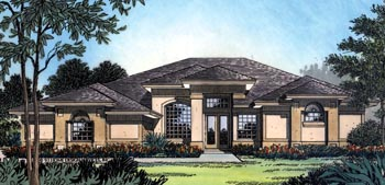 Contemporary, Florida, Mediterranean, One-Story House Plan 63258 with 4 Beds, 3 Baths, 2 Car Garage Elevation