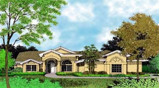 Contemporary, Florida, Mediterranean, One-Story House Plan 63259 with 4 Beds, 2 Baths, 2 Car Garage Elevation