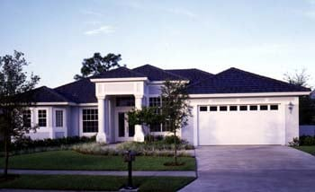 Contemporary, Florida, Mediterranean, One-Story House Plan 63262 with 4 Beds, 3 Baths, 2 Car Garage Picture 1