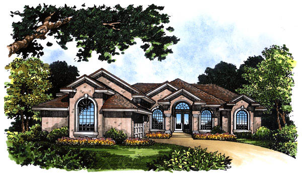 Contemporary Florida Mediterranean Elevation of Plan 63264