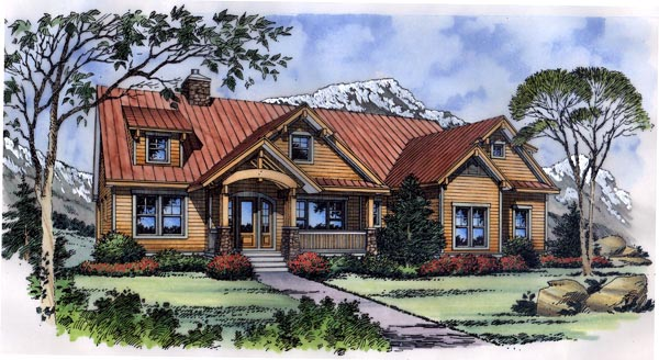 Craftsman, One-Story House Plan 63266 with 3 Beds, 3 Baths, 2 Car Garage Elevation