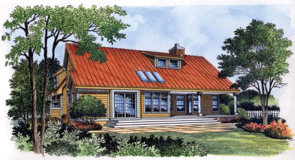 Craftsman, One-Story House Plan 63266 with 3 Beds, 3 Baths, 2 Car Garage Rear Elevation