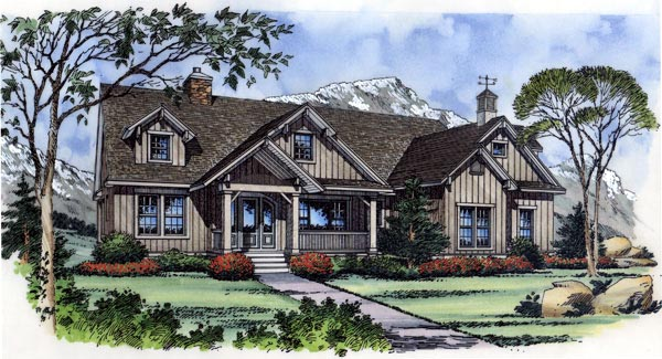 Country, Farmhouse, One-Story House Plan 63267 with 3 Beds, 3 Baths, 2 Car Garage Elevation