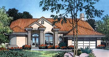 Contemporary Florida Mediterranean One-Story Elevation of Plan 63270
