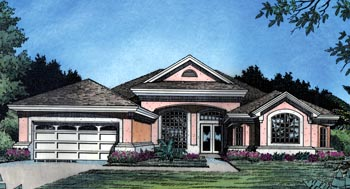 Contemporary , Florida , Mediterranean , One-Story , Elevation of Plan 63272