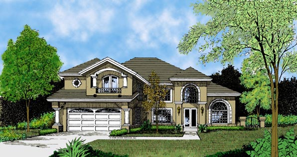 Contemporary, Florida, Mediterranean, One-Story House Plan 63273 with 4 Beds, 3 Baths, 2 Car Garage Elevation