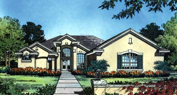 Contemporary Florida Mediterranean Elevation of Plan 63275