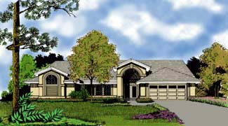 Contemporary Florida Mediterranean One-Story Elevation of Plan 63276