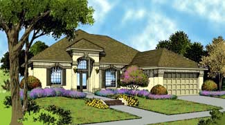 Contemporary, Florida, Mediterranean, One-Story House Plan 63286 with 3 Beds, 2 Baths, 2 Car Garage Elevation