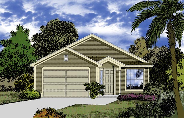 Mediterranean House Plan 63293 with 3 Beds , 2 Baths , 2 Car Garage Elevation