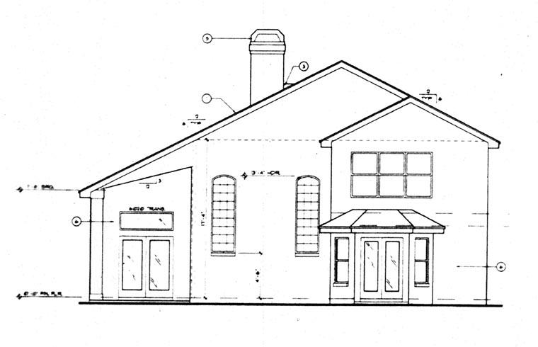 Contemporary, Florida, Mediterranean House Plan 63307 with 4 Beds, 4 Baths, 2 Car Garage Rear Elevation