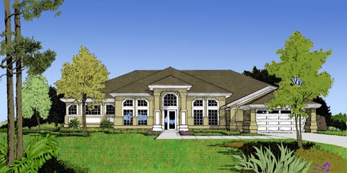 Contemporary, Florida, Mediterranean, One-Story House Plan 63320 with 4 Beds, 4 Baths, 2 Car Garage Elevation