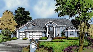 Contemporary Florida Mediterranean One-Story Elevation of Plan 63322