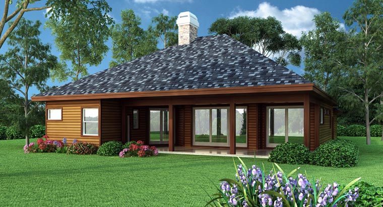 Contemporary Craftsman Ranch House Plan 63323 Rear Elevation