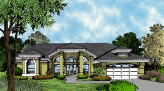 Contemporary , Florida , Mediterranean , One-Story House Plan 63327 with 4 Beds, 3 Baths, 2 Car Garage Elevation