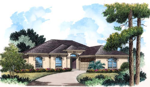 European Mediterranean Ranch Tuscan House Plan 63341 Elevation
