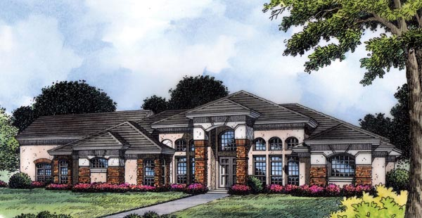 Contemporary, European, Florida House Plan 63349 with 4 Beds, 3 Baths, 3 Car Garage Elevation