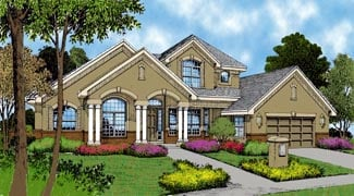 House Plan 63357 | Contemporary Florida Mediterranean Style Plan with 3523 Sq Ft, 4 Bedrooms, 3 Bathrooms, 2 Car Garage Elevation