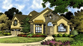 European , Traditional House Plan 63358 with 3 Beds, 4 Baths, 2 Car Garage Elevation