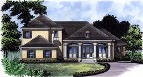 House Plan 63359 | Florida Mediterranean Traditional Style Plan with 3633 Sq Ft, 4 Bedrooms, 5 Bathrooms, 3 Car Garage Elevation