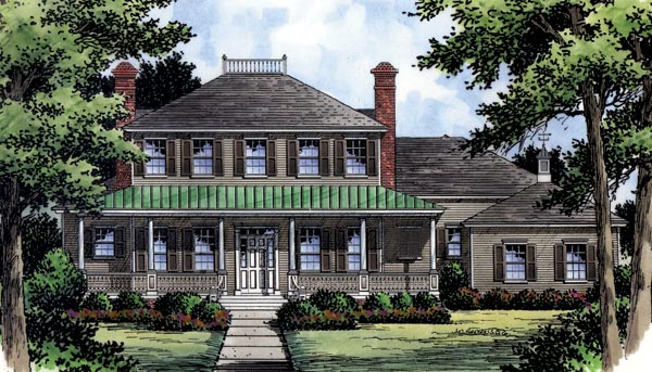 Colonial, Southern, Traditional House Plan 63360 with 4 Beds, 5 Baths, 3 Car Garage Front Elevation