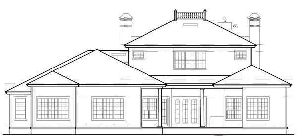 House Plan 63360 | Colonial Southern Traditional Style Plan with 3855 Sq Ft, 4 Bedrooms, 5 Bathrooms, 3 Car Garage Rear Elevation