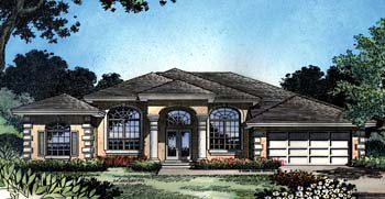 Contemporary, Florida, Mediterranean, One-Story House Plan 63370 with 5 Beds, 3 Baths, 2 Car Garage Elevation
