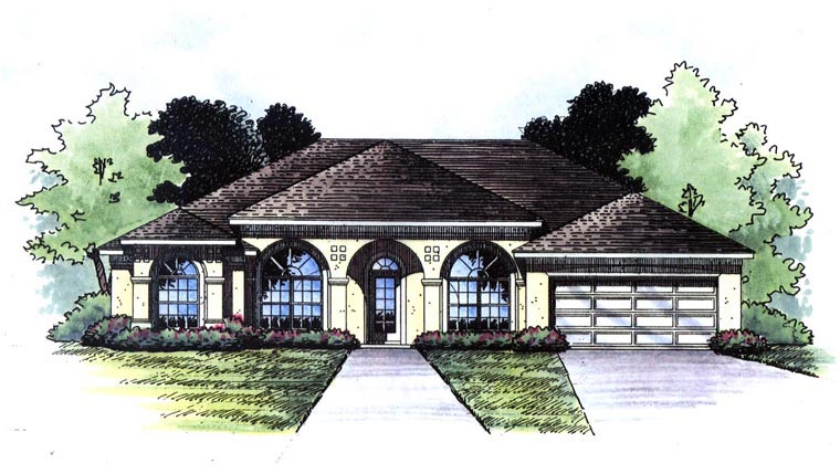 European , Mediterranean , Southern House Plan 63372 with 3 Beds, 3 Baths, 2 Car Garage Elevation