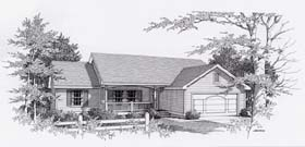 House Plan 63508   Country Style Plan with 1497 Sq Ft, 3 Bedrooms, 2 Bathrooms, 2 Car Garage Elevation
