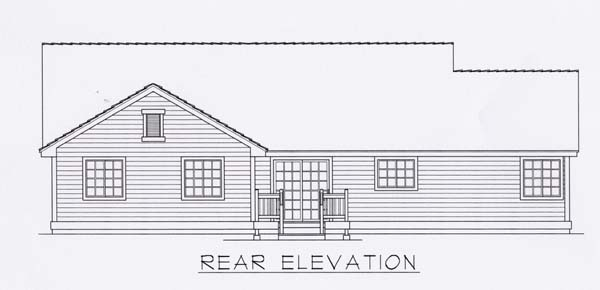 House Plan 63508   Country Style Plan with 1497 Sq Ft, 3 Bedrooms, 2 Bathrooms, 2 Car Garage Rear Elevation
