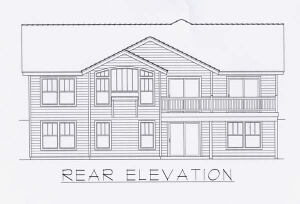 Craftsman Rear Elevation of Plan 63513