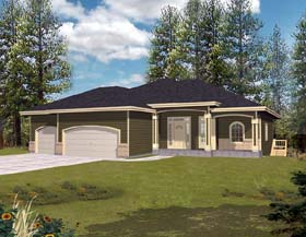 Ranch , Mediterranean , Contemporary House Plan 63514 with 3 Beds, 3 Baths, 3 Car Garage Elevation