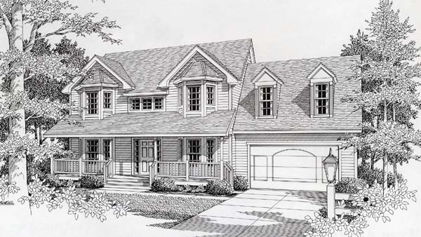 Victorian House Plan 63517 with 3 Beds, 3 Baths, 2 Car Garage Elevation