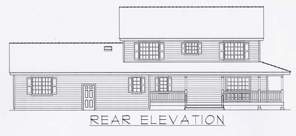 Country House Plan 63534 with 4 Beds, 4 Baths, 3 Car Garage Rear Elevation