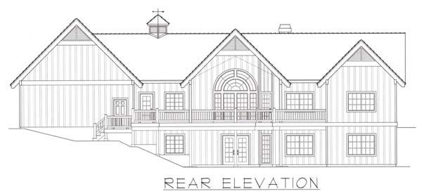 House Plan 63535 | Contemporary Style Plan with 4012 Sq Ft, 4 Bedrooms, 4 Bathrooms, 3 Car Garage Rear Elevation