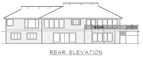 Contemporary Ranch House Plan 63537 Rear Elevation