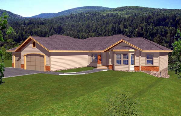 Contemporary, Ranch House Plan 63542 with 7 Beds , 4 Baths , 3 Car Garage Elevation