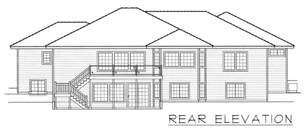 Contemporary, Ranch House Plan 63542 with 7 Beds , 4 Baths , 3 Car Garage Rear Elevation