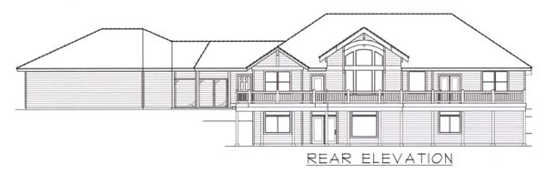 Craftsman House Plan 63543 with 4 Beds, 5 Baths, 3 Car Garage Rear Elevation