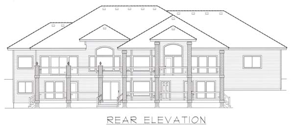 European House Plan 63544 with 4 Beds , 3 Baths , 3 Car Garage Rear Elevation